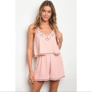 NWT Loveriche Pink Embroidered Ruffle Romper